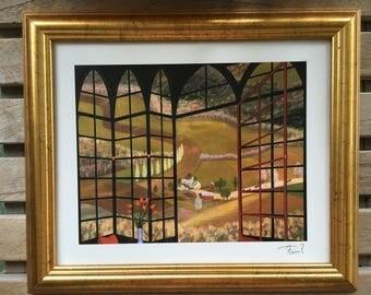 Vintage Gold Framed Print, Window Print, Vintage Scenery, Signed Art Print