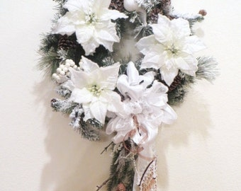 SALE Colorado Inspired White Christmas Wreath with Snow, Branch, Pinecones and elaborate Victorian Pearl Beaded Fringe Beaded Bow - Ready to