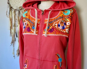 Red Orange Mexican Embroidered Flower Eco Chic Bohemian Hippie Upcycled Zip Up Hoodie Hooded Sweatshirt Sweater Festival Size XL
