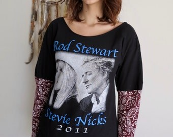 Stevie Nicks Rod Stewart Floral Sleeve Pink Eco Friendly Off The Shoulder Upcycled Tshirt/Tee/Top/Shirt Womens Size Small Medium