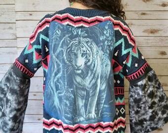 Bengal Tiger Bell Sleeve Upcycled Hippie Boho Cardigan Sweater Yoga Jacket Boho Festival Womens One Size OOAK
