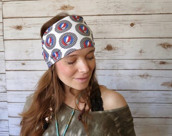 Grateful Dead Steal Your Face Peace Wide Print Bohemian Boho Hippie Yoga Headband Turban Hair Wrap Upcycled Recycled Festival Summer