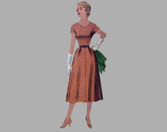 1954  Dress Pattern, Simplicity 4655, Size 16 Bust 34, Notched Neckline, Easy fitting 4 gore skirt, Kimono sleeve, Detach neck/sleeve trim