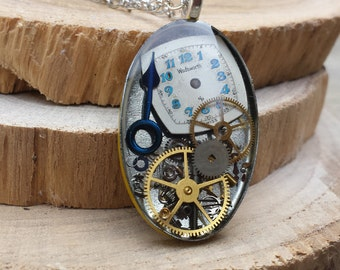 Steampunk Necklace, Steampunk Pendant, jewelry, Vintage and antique watch part necklace, resin - Gear Oval Pendant Necklace - Ready to ship