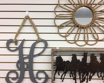 2 wood Monograms front door decor housewarming gallery wall bff entertaining new home gift door wreath Beach House Dreams OBX