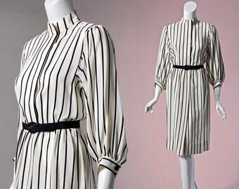 80s designer Albert Capraro white and black vertical striped silk dress | small