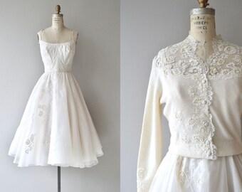 Osmanthus wedding dress | vintage 1950s wedding dress | 50s wedding dress and cardigan