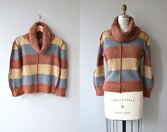 Woodsman sweater | vintage 1970s sweater | vintage wool cowl neck sweater