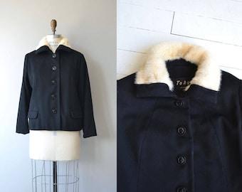 Kelson shearling collar coat | vintage 1950s wool jacket | shearling 50s jacket