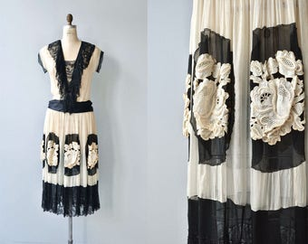 Vignette silk dress | vintage 1920s dress | silk and lace 20s dress