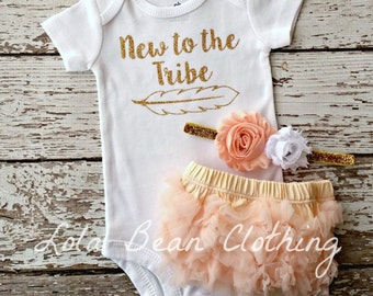 Baby Girl Coming Home Outfit New to the Tribe Bloomers Headband Take Home outfit girl Bodysuit Set Peach Gold lolabeanclothing Newborn girl