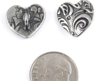 TierraCast Silver Buttons - Pewter AMOR HEART (2 Pieces)