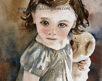 Watercolor Portrait Painting of girl Little Girls room decor Kids wall art Girls Room decor Art Print Bear Hug Portrait PRINT portrait art