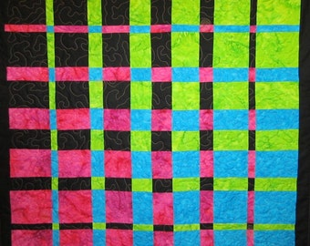 Colorful Squares Wall Hanging Art Quilt