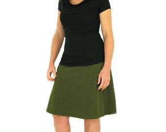 Comfy Skirt Knee Length - M - OLIVE - Hemp/Organic Cotton/Lycra