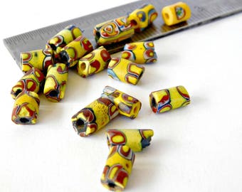 28 Antique Venetian Glass African Trade Beads , fine quality Yellow base Small Tube beads Vintage Prized Millefiori Old beads 100+ years old