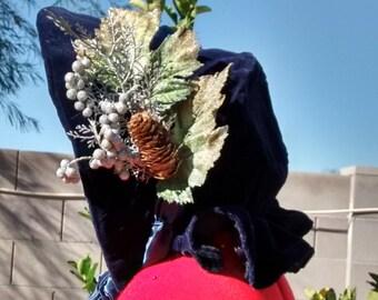Blue Velvet Christmas Bonnet