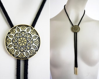 Gold and Black Accent Round Bolo Tie Lariat Necklace