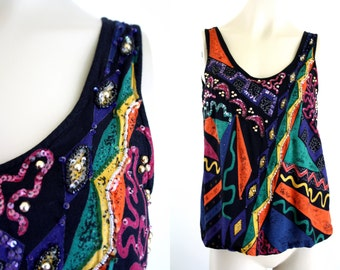 Together 90's X Small Woman's Multi Colored Funky Vintage Beaded Tank Top