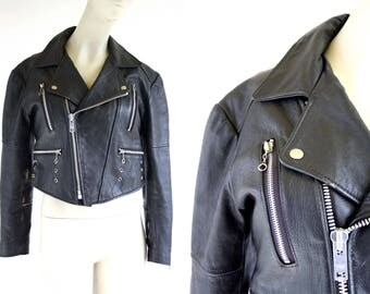 Vintage Black Leather Cropped Motorcycle Style Woman's Retro 90's Jacket