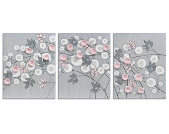 Baby Girl Room Decor Flower Art - Gray and Pink Canvas Painting Three Piece Original - Large 50x20