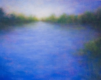 Landscape Painting Quiet Light Elkhorn Slough California Blue by Victoria Veedell