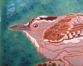 Wren on the Prowl tile, Arts and Crafts style, Mission style tile, birders, kitchen, bath, fireplace surround or framed