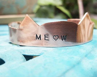 Meow cuff, cat ears custom cuff, kitty love bracelet, made to order, cat bracelet, cat custom cuff