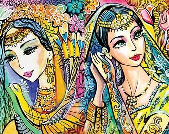 Beautiful Indian woman, sisters art, Indian decor painting, feminine decor, beauty painting print 8x11+