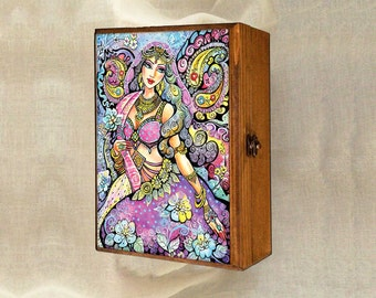 mermaid dance, beautiful woman, mermaid fantasy art, wooden gift box, mother box, christian box, jewelry box, 7x10