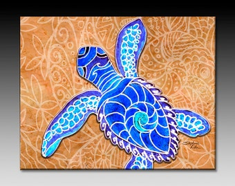 Blue Baby Turtle Ceramic Tile Wall Art