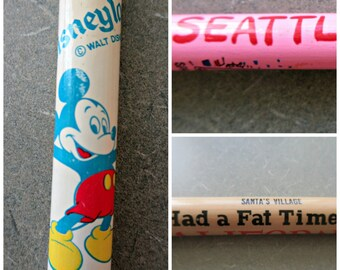 Vintage Giant Pencils, Souvenir Pencils, Made in Japan, Oversized Pencils, Disneyland Pencil, Santa's Village California Souvenirs, Seattle