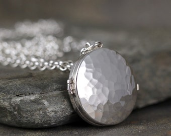 Round Silver Locket Pendant - Sterling Silver - Rustic Hammered Texture - Long Layering Necklace - Keepsake Pendant