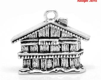 Log Cabin/Wood House - Set of 6 charms - #HK1361