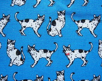 Animal Print Fabric By The Yard - Black and White Cats on Blue - Cotton Fabric - Half Yard