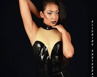 Latex Sweetheart Top with transparent cut-out and shaped neckline, very sexy, made to order