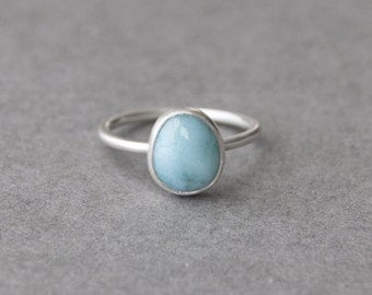 Larimar Ring in Sterling Silver, Gemstone Ring, Solitaire Ring, Brushed Matte Finish, One of a Kind Silver Ring