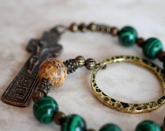 Catholic, Single Decade Irish Penal Malachite, Picture Jasper and Bronze Rosary