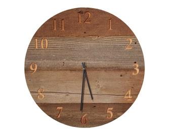 18 inch reclaimed wood wall clock