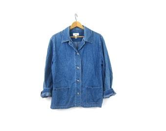 Vintage 90s Denim Field Jacket Jean Jacket Loose Fit shirt coat Lightweight Button Up Spring Coat Womens Size Medium