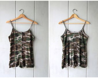 Army Camouflage ROMPER One Piece Cotton Onesie 90s Vintage Camo Grunge Jumpsuit Shorts Button Up Tank Top Playsuit 1 Piece Womens XS