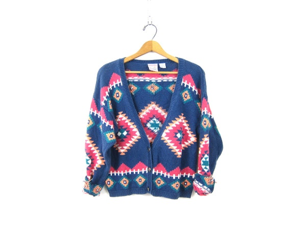 Cropped Knit Sweater Southwestern Print Pattern Button Up Cardigan Crop Fall Sweater Top Pink Blue Bohemian Vintage Womens Large