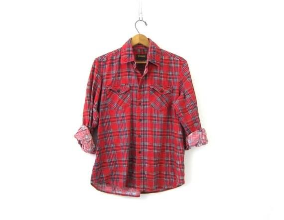 Red Plaid Flannel Shirt 80s Grunge Shirt Button Up Cotton Preppy Rugged Tomboy Boyfriend Work Shirt Vintage Medium Large