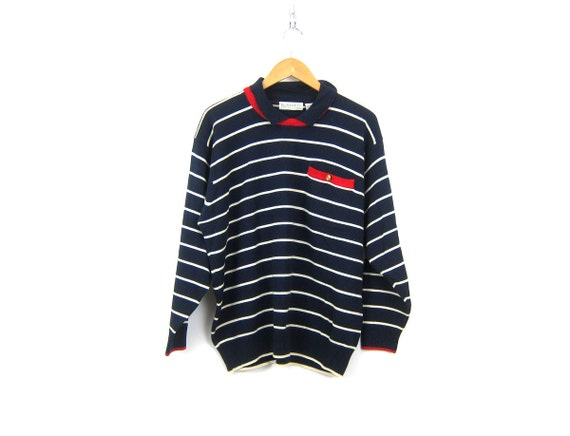 Blue Stripe Sweater Collar top Preppy Hipster INDIE Girl Wool Mix Sweater Red White Blue Nautical Knit Women's size XL