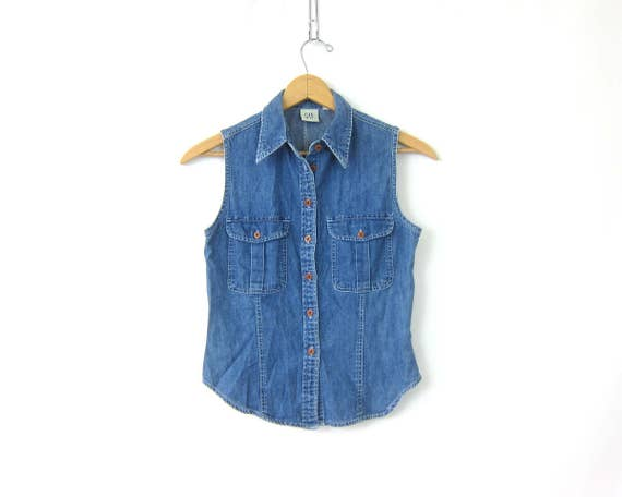 90s Sleeveless Jean Shirt Dark Wash Denim Button Up GAP Shirt 1990s Preppy Collar Pocket Tee Tank Shirt Women's XS