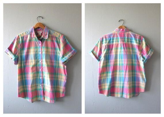 Colorful Plaid Shirt Button Up Top Pastel Pink Print Short Sleeve Tee Vintage Preppy Tshirt Purple Green Shirt Womens Size XL