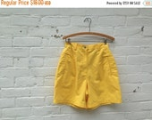 YEAR END SALE 1980s Vintage Yellow Bright Yellow High Waisted Shorts
