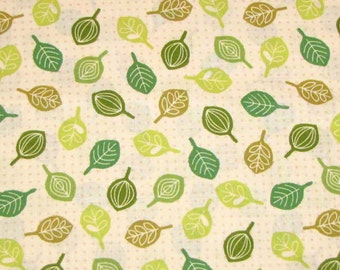 Timeless Treasures Fabric - Green Tree Leaf on Beige - Quilting Cotton YARDS