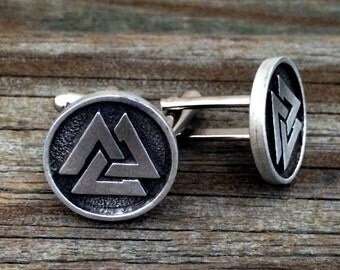 Viking Valknut Metal Cufflinks | Men's Cuff Links | Gifts For Him | Handcrafted | Viking Norse Asatru Jewelry | by Treasure Cast Pewter