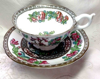 Coalport Teacup & Saucer - Indian Tree Pattern Pink Green Aqua England - Bone China - Wide top cup - Lovely Gift for Mother's Day!